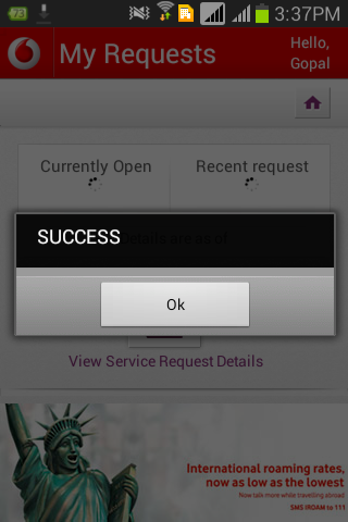 Screen shot of Vodaphone App's My Request screen