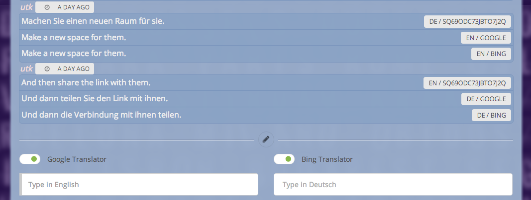 Auto translated messages